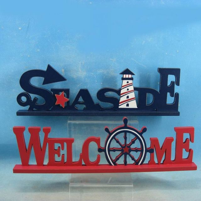 Set of 2 - Wooden Seaside Welcome Nautical Word Art 16
