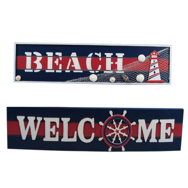 Set of 2 - Wooden Beach Welcome Nautical Wall Plaque 19