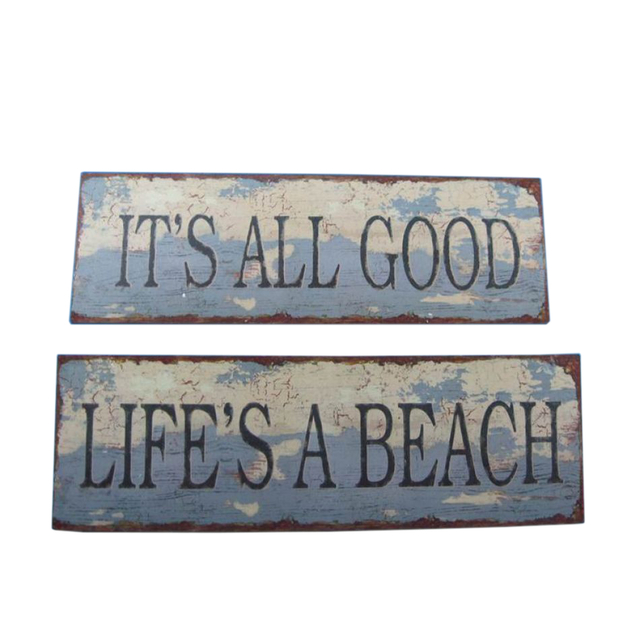 Set of 2 - Wooden Weathered Nautical Signs 20