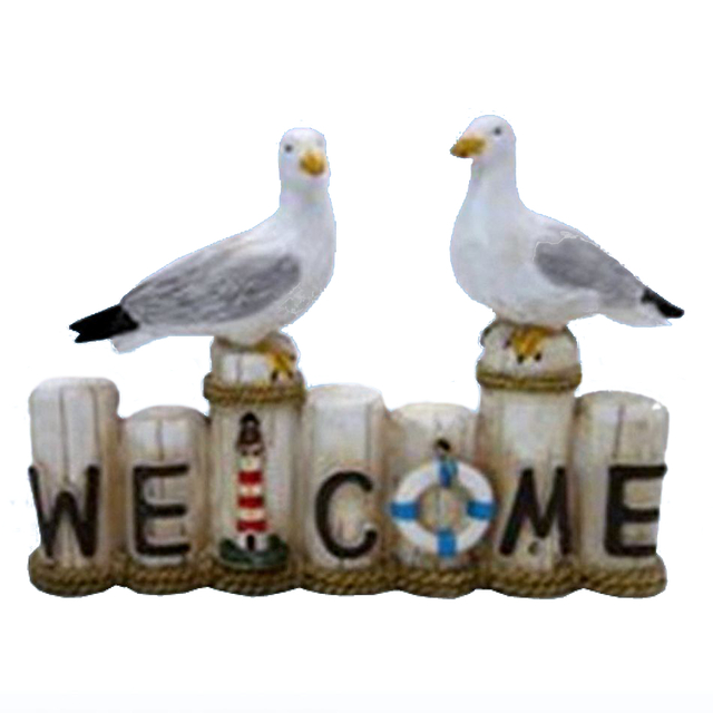 Wooden Seagull Welcome Sign 8