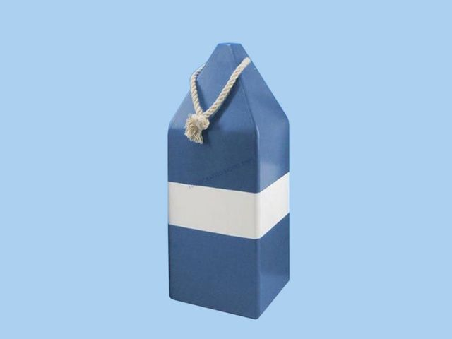 Wooden Blue Dark Colored Buoy w- Rope 14