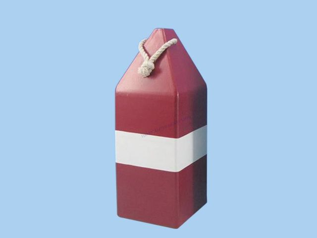 Wooden Red Dark Colored Buoy w- Rope 14
