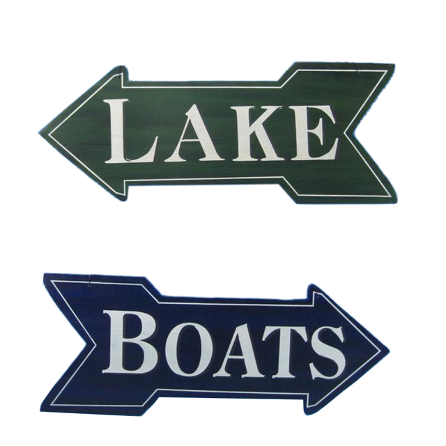 Set of 2 - Wooden Lake and Boats Arrow Wall Plaques 18