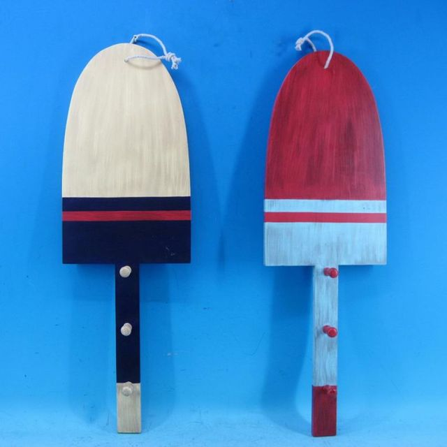Wooden Red and Blue Boat Paddles w- Hooks 24 - Set of 2