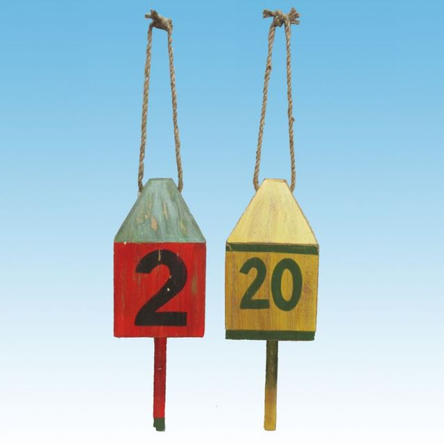 Wooden Numbered Buoys w- Rope 12 - Set of 2