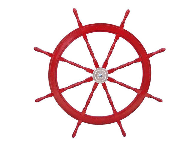 Deluxe Class Dark Red Wood and Chrome Decorative Ship Steering Wheel 48