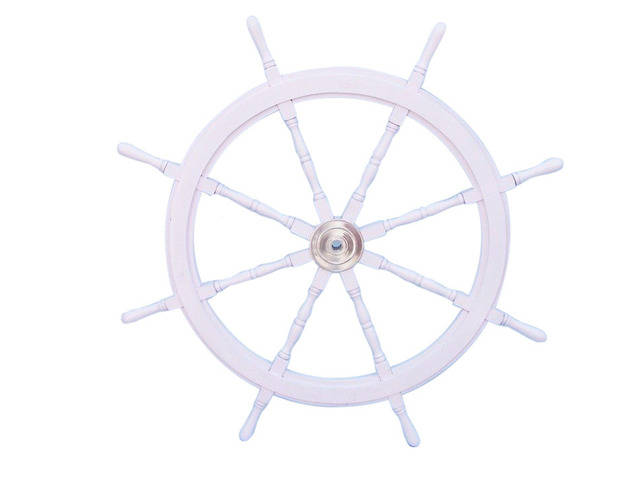 Deluxe Class White Wood and Chrome Ship Decorative Steering Wheel 48