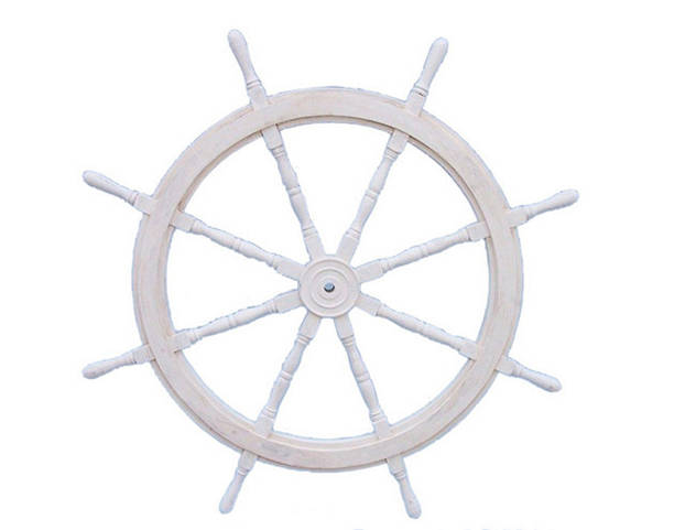 Classic Wooden Whitewashed Decorative Ship Steering Wheel 48