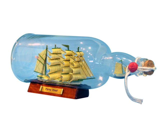Green Flying Cloud Model Ship in a Glass Bottle 11