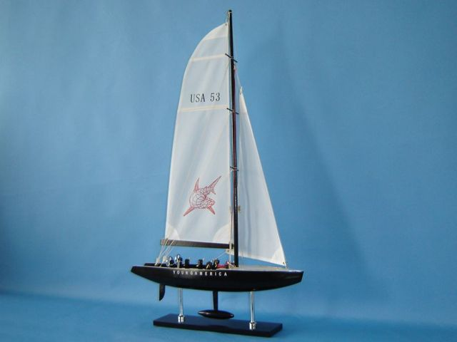 Wooden Young America Model Sailboat Decoration 30