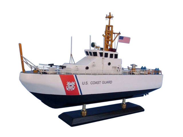 Wooden United States Coast Guard USCG Coastal Patrol Model Boat 16