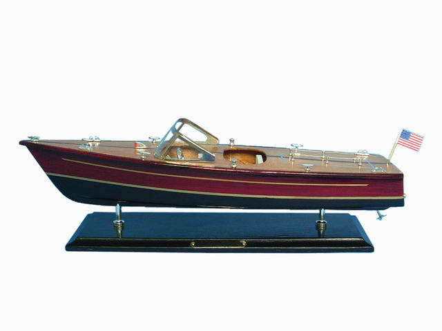 Wooden Chris Craft Dual Cockpit Model Speedboat 20