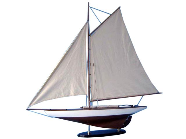Wooden Americaandapos;s Cup Contender Model Sailboat Decoration 26