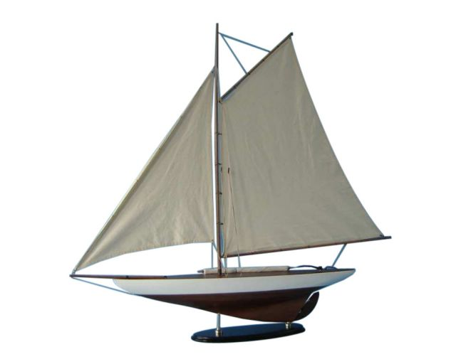 Wooden Americaandapos;s Cup Contender Model Sailboat Decoration 40