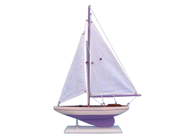 Wooden Lavendar Pacific Sailer Model Sailboat Decoration 17