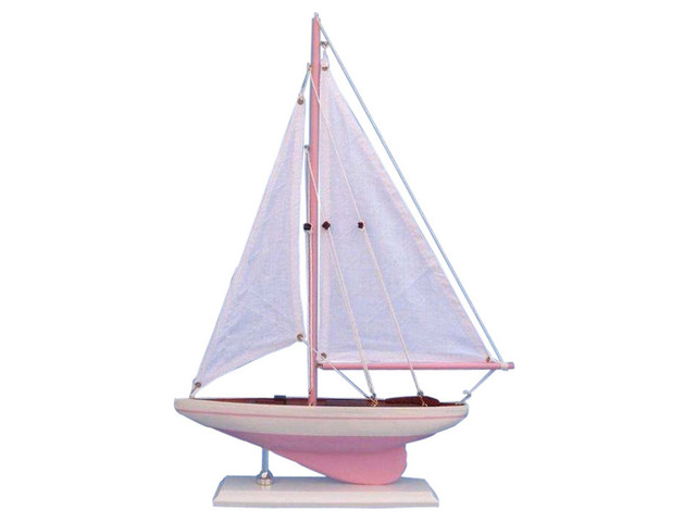 Wooden Pink Pacific Sailer Model Sailboat Decoration 17