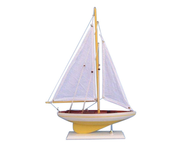 Wooden Yellow Pacific Sailer Model Sailboat Decoration 17