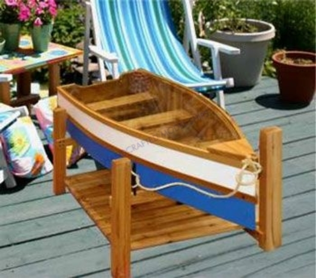 Buy Glass Topped Row Boat Boat Dock Coffee Table 46 Inch Beach