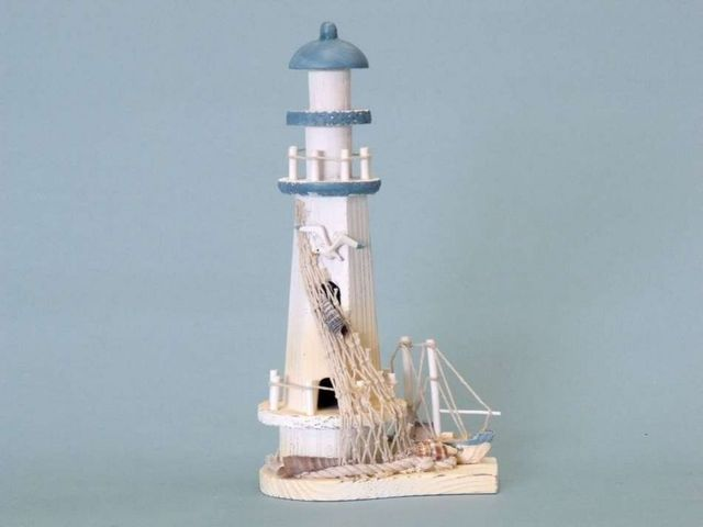 Blue Wooden Lighthouse and Boat 12