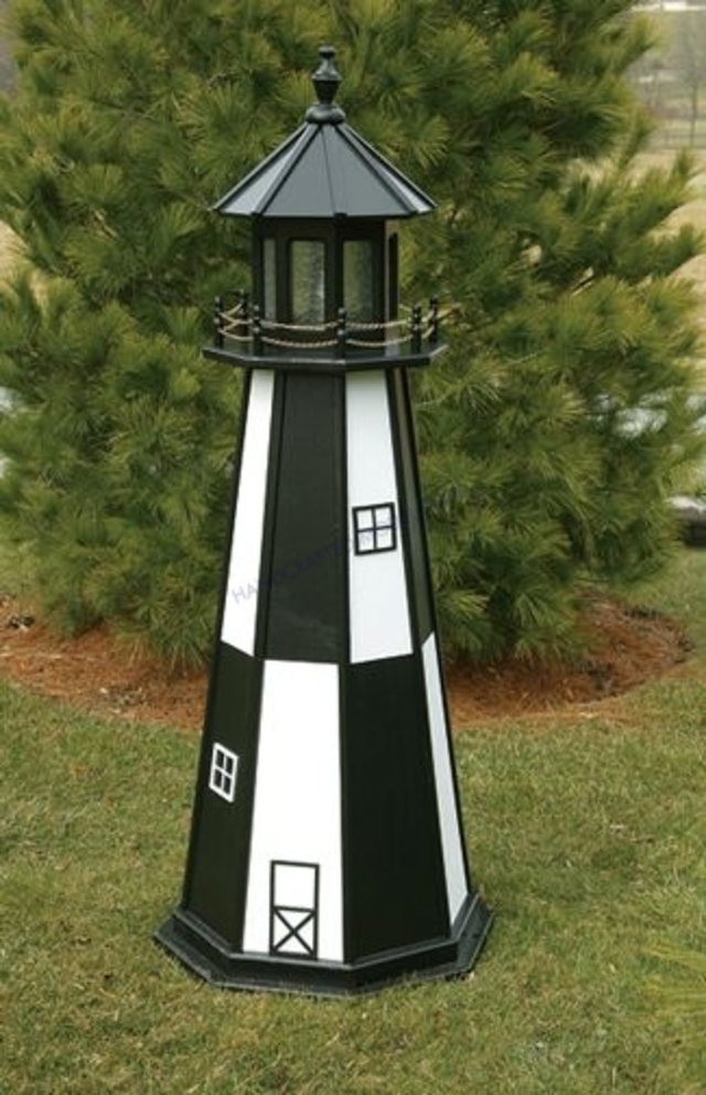 Cape Henry Electric Painted Wooden Lighthouse  48
