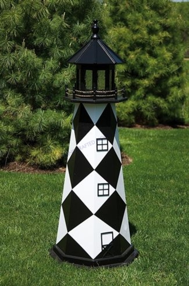 Cape Lookout Electric Painted Wooden Lighthouse 72