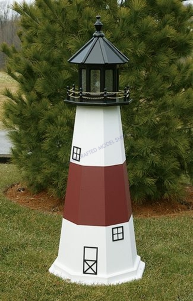 Montauk Electric Painted Wooden Lighthouse 60