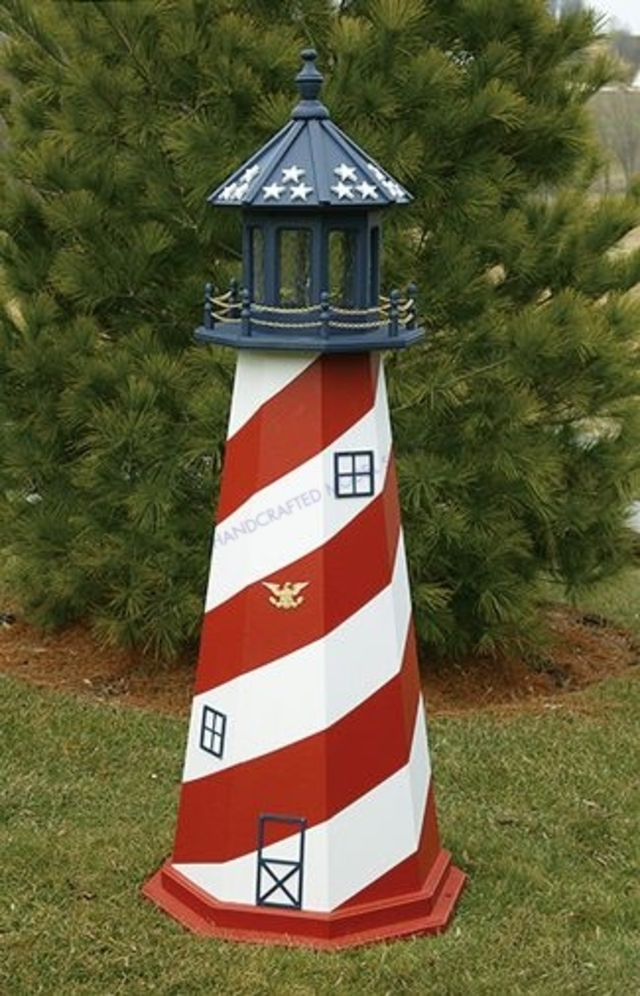Patriotic Electric Painted Wooden Lighthouse 60