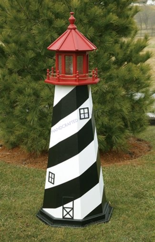 St. Augustine Electric Painted Wooden Lighthouse 60