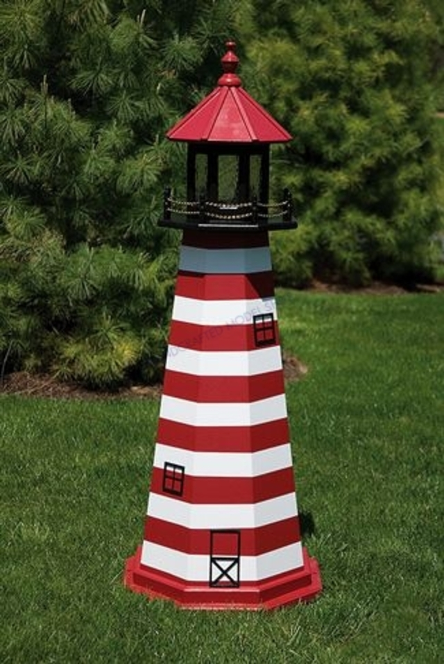 West Quoddy  Electric Painted Wooden Lighthouse  48