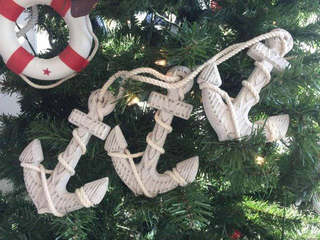 Wooden Rustic Whitewashed Decorative Triple Anchor Christmas Ornament Set 7