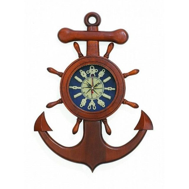 Wooden Shipwheel Anchor Knot Clock 18