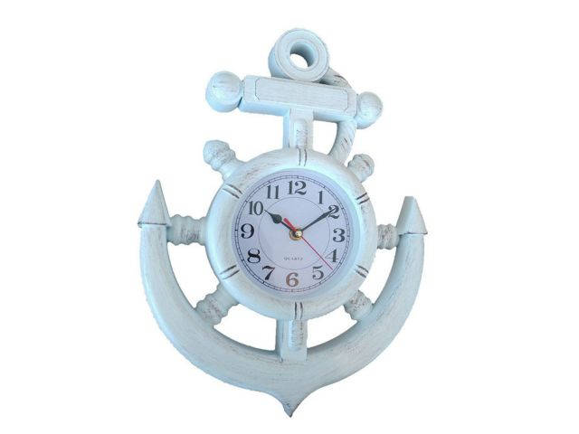 Whitewashed Ship Wheel and Anchor Wall Clock 15