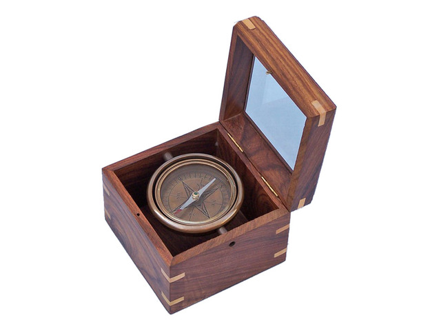 Antique Brass Lifeboat Compass with Rosewood Box 5