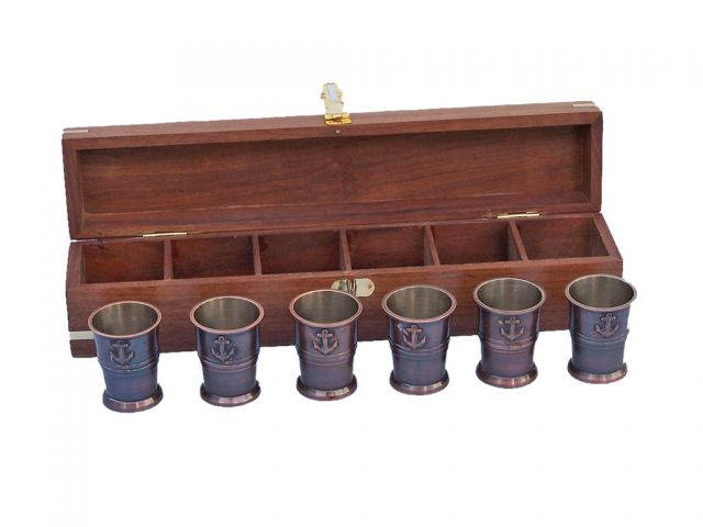 Antique Copper Anchor Shot Glasses With Rosewood Box 12 - Set of 6