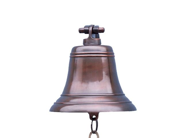 Antiqued Copper Hanging Ships Bell 9