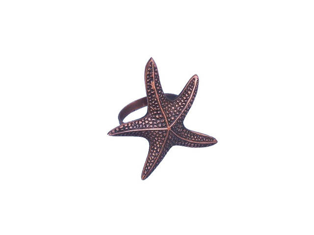 Antique Copper Starfish Napkin Ring 3