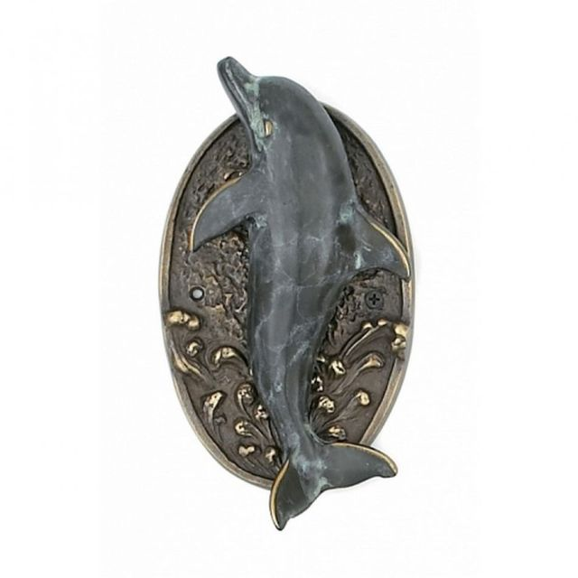 Antique Brass Dolphin Door Knocker 9