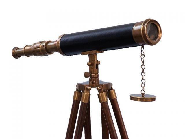Floor Standing Antique Brass With Leather Harbor Master Telescope 50