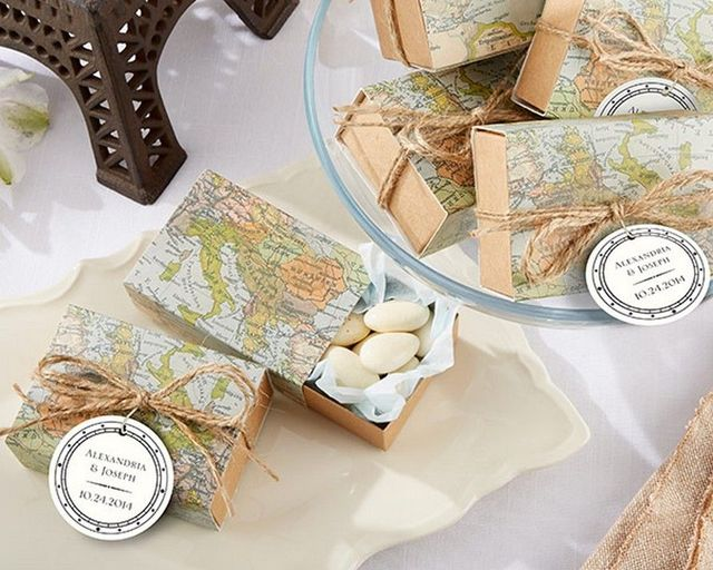 Set of 24 - Around the World Map Favor Box 3