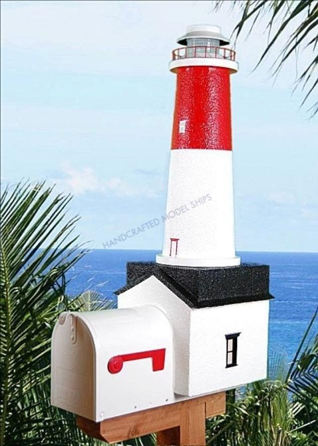 Barnegat  Solar Powered Stucco Lighthouse Mailbox 36