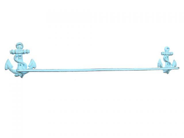 Rustic Light Blue Cast Iron Anchor Bath Towel Holder 30