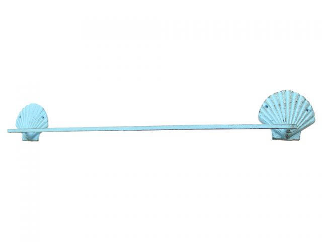 Rustic Light Blue Cast Iron Shell Bath Towel Holder 30