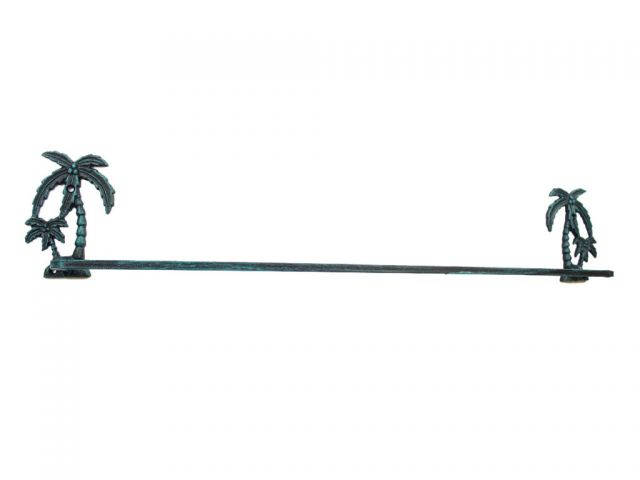 Seaworn Blue Cast Iron Palm Tree Bath Towel Holder 26