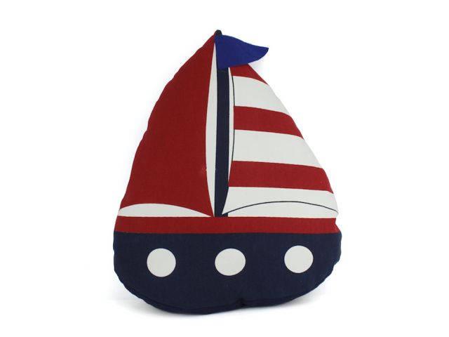 Blue American Sailboat Nautical Decorative Throw Pillow 17