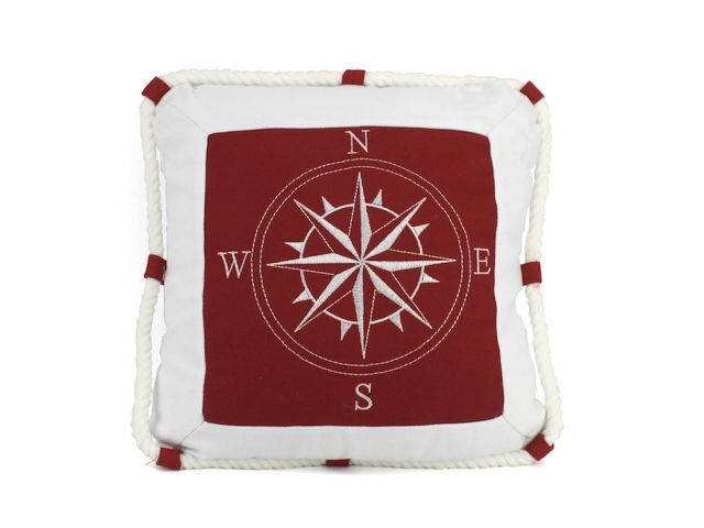 Red Compass With Nautical Rope Decorative Throw Pillow 16