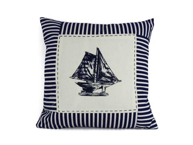 Blue Sloop Nautical Stripes Decorative Throw Pillow 16