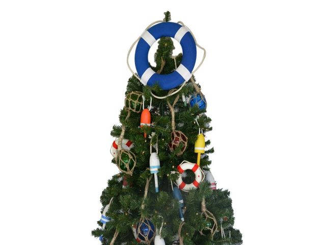 Vibrant Blue Lifering with White Bands Christmas Tree Topper Decoration
