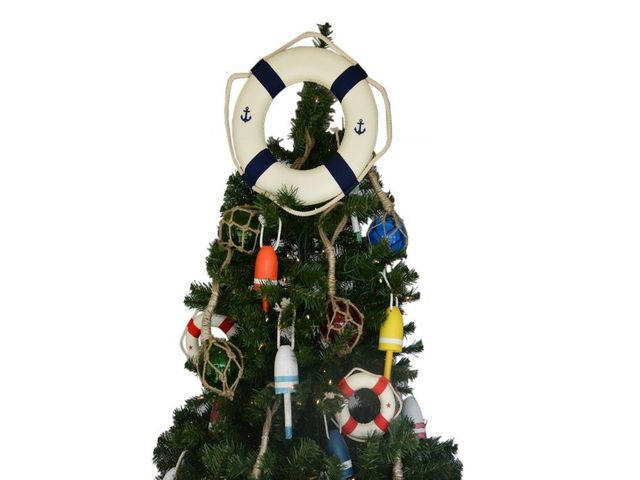 White Anchor Lifering with Blue Bands Christmas Tree Topper Decoration