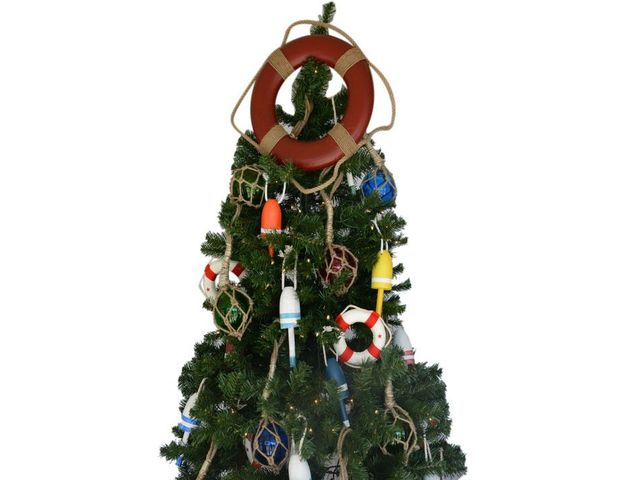 Red Lifering Christmas Tree Topper Decoration