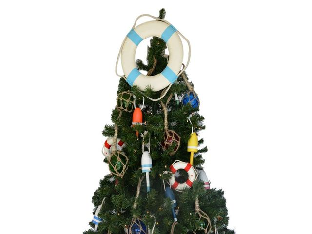 White Lifering with Light Blue Bands Christmas Tree Topper Decoration